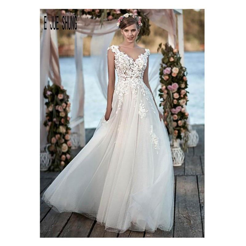 E JUE SHUNG Cheap Boho Wedding Dresses 3 D Flowers V Neck Sexy Backless Wedding Dress Custom Garden A Line Tulle Bridal Gown