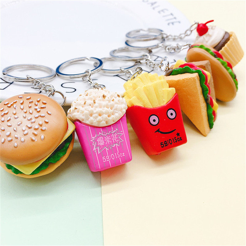 creative hamburger hot dog French fries cake popcorn sandwich keychain PVC food keyring ornament men and women bag small pendant