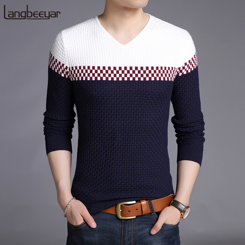 2019 New Fashion Brand Sweater Men's Pullover Slim Fit Jumpers Knit Woolen V Neck Autumn Korean Style Casual Mens Clothes