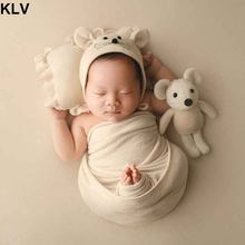 4 Pcs/Set Baby Hat Pillow Wrap Blanket Newborn Photography Props Infants Photo Shooting Accessories(China)