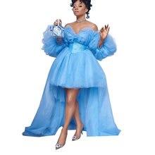 Женское бальное платье без бретелек небесно голубого цвета из