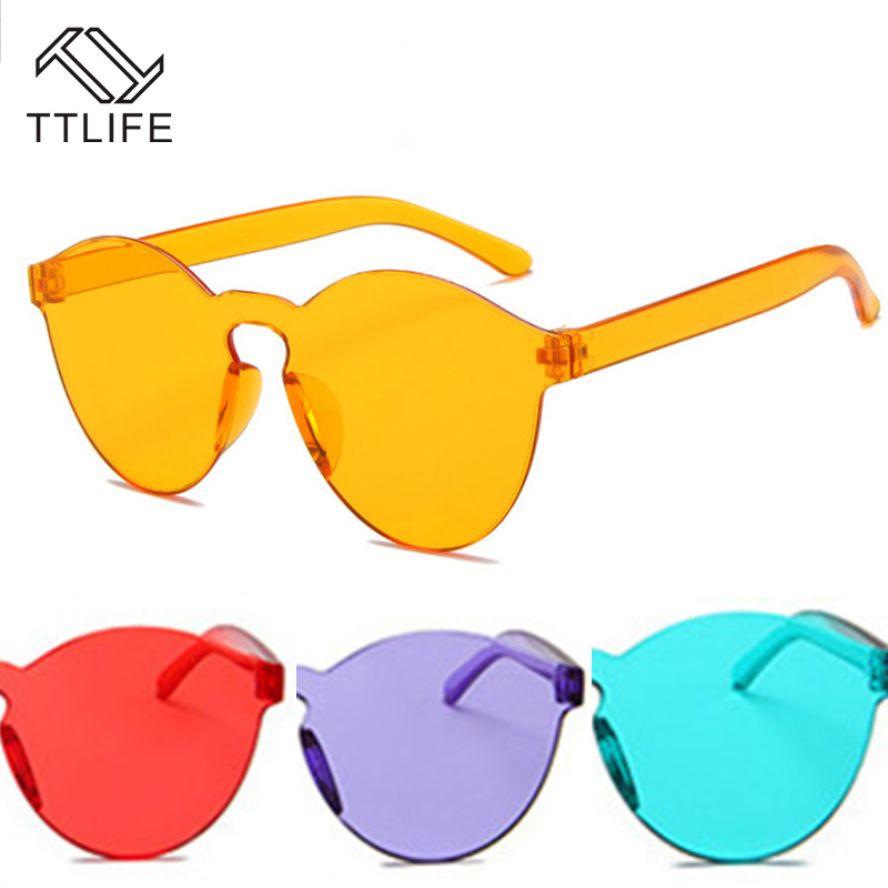 TTLIFE  Orange Fashion Sunglasses Women Candy Color Face-Lift Sun Glasses Beauty Vintage Sunglass Street