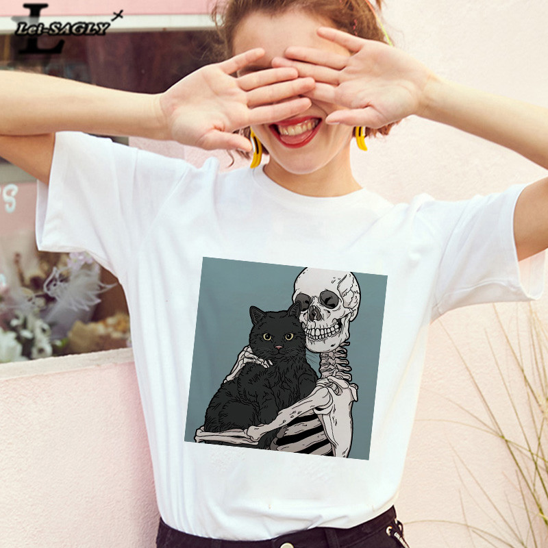 Lei SAGLY 2019 Skull And  Cute Cat Women T Shirt Harajuku Female Gothic Short Sleeve Kawaii Casaul  Oversize Tee Tops