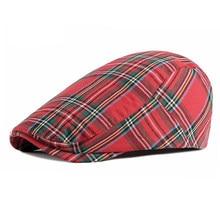 Wuaumx boina unissex, chapéu de malha, moda primavera/verão, xadrez, viseiras, vermelho, verde, azul