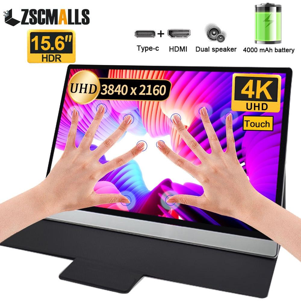 Портативный игровой монитор UHD 4K + Touch + Battery, 15,6 дюйма, для ПК, ноутбука, Huawei, Samsung, телефона, Ps4, Ps5, Xbox, USB, Type C, HDMI, компьютера