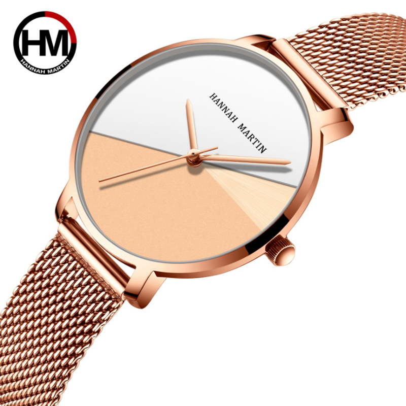 Japan Quartz Movement High Quality Hannah Martin Women Stainless Steel Mesh Rose Gold Waterproof Ladies Fashion Wrist Watch Gift