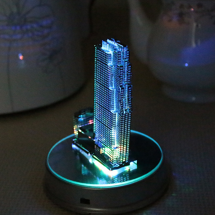 Rockefeller Plaza Night Lights Metal Puzzle Diy Handicrafts Mini Building Movelty Lights Novelty Gifts Home Decor Accessories