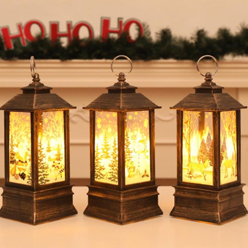 Christmas Flame Wind Lamp Santa Claus Decoration Christmas LED Lighting Ornament Candlestick Lamp 13x5.5x5.5cm Bronze