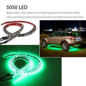 4pcs Decorative Lamp Multi-Color RGB 180 LED 5050 SMD Strip Under Car Tube Underglow Underbody System Waterproof Neon Light Kit image
