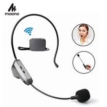 MAONO 2.4G ไร้สายไมโครโฟนแฮนด์ฟรีน้ำหนักเบา Headworn Micofone Professional แบบใช้มือถือ MIC สำหรับ YouTube Speech ผสม