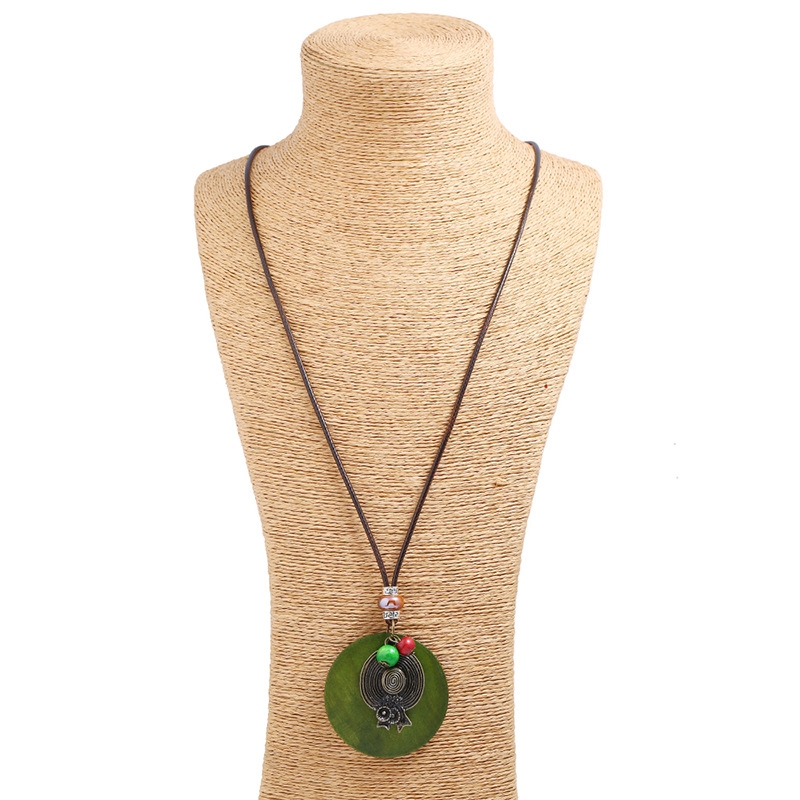 Emerald  With Leather Chan Sweater Necklace
