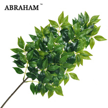 65cm 3 Fork Plastic Leaves Large Artificial Tree Branch Fake Banyan Leafs Green Plants Real Touch Foliage For Home Garden Decor