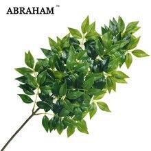 Grandes branches d'arbre artificiel en plastique, 65cm, 3 fourchettes, plantes en plastique, fausses feuilles de Banyan, feuilles vertes au toucher réel, pour décoration de jardin de maison