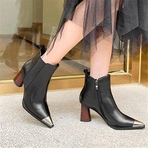 Image 5 - MORAZORA/Новое поступление 2020 года; Женские ботильоны на высоком каблуке; Обувь из натуральной кожи с металлическим носком на молнии; Сезон осень зима; Женские ботиночки