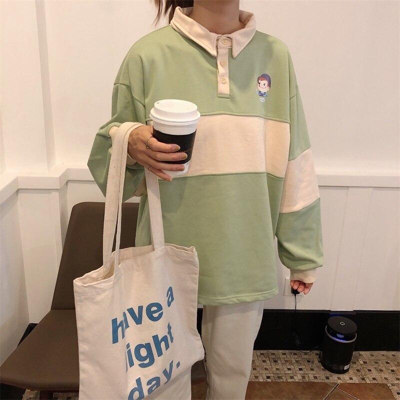 Loose Polo Women Shirt Spring Casual Lapel Print Tops Female Blue Green Stripe Long Sleeve Shirts  Schoolgirl Harajuk Polo Shirt