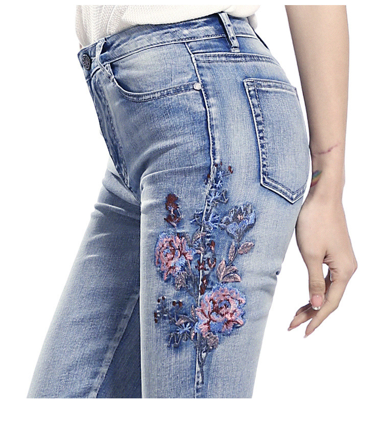 KSTUN FERZIGE high waist jeans women light blue stretch cropped pants embroidery flowers spring and summer jeans slim straight mujer 16