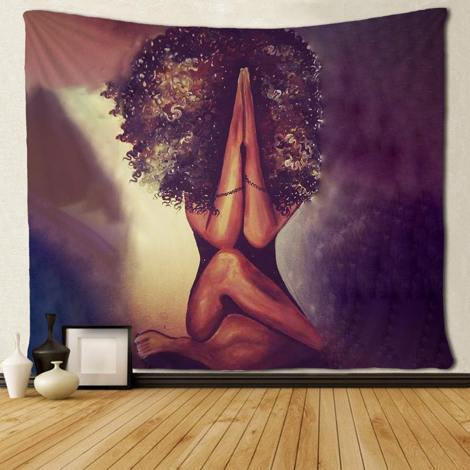 Black African American Women Prayer Gesture Tapestries Hippie Art