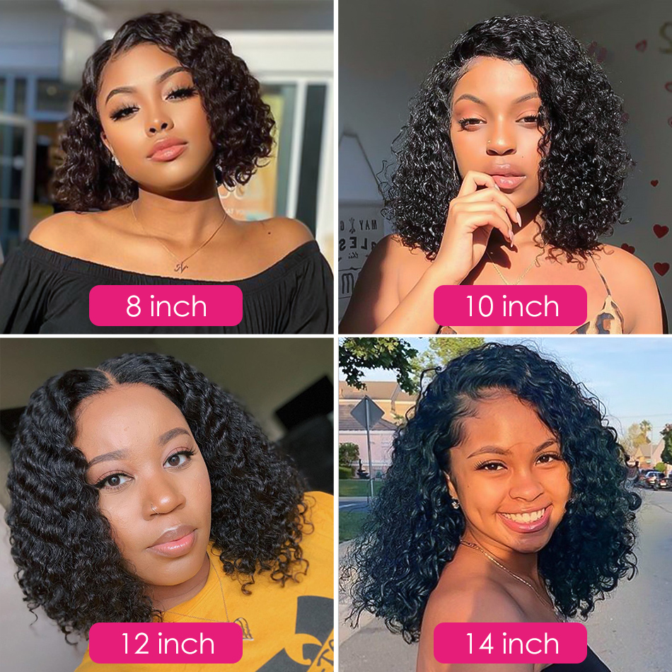 Malaysian Jerry Curly Short Bob Lace Front Human Hair Wig Pre Plucked For Black Women Glueless 13x4 Deep Wave Frontal Wig Remy 2
