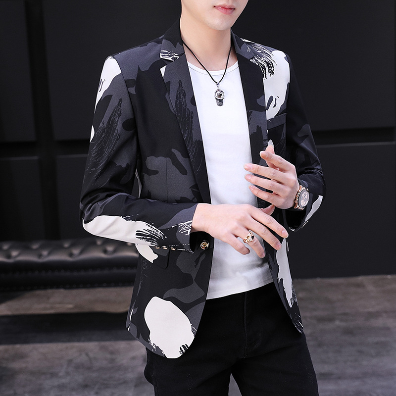 2020 Men Spring Printed Small BLAZER Youth New Style Handsome Cool Camouflage BLAZER