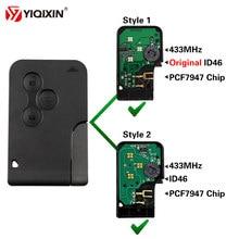 YIQIXIN 3 Botão Chave de Cartão Smart Card 433Mhz Original ID46 PCF7947 Chip para Renault Megane 2 3 Scenic Clio Logan Cartão de Chave Remota Impresso em Placa de Circuito Ultrasónico