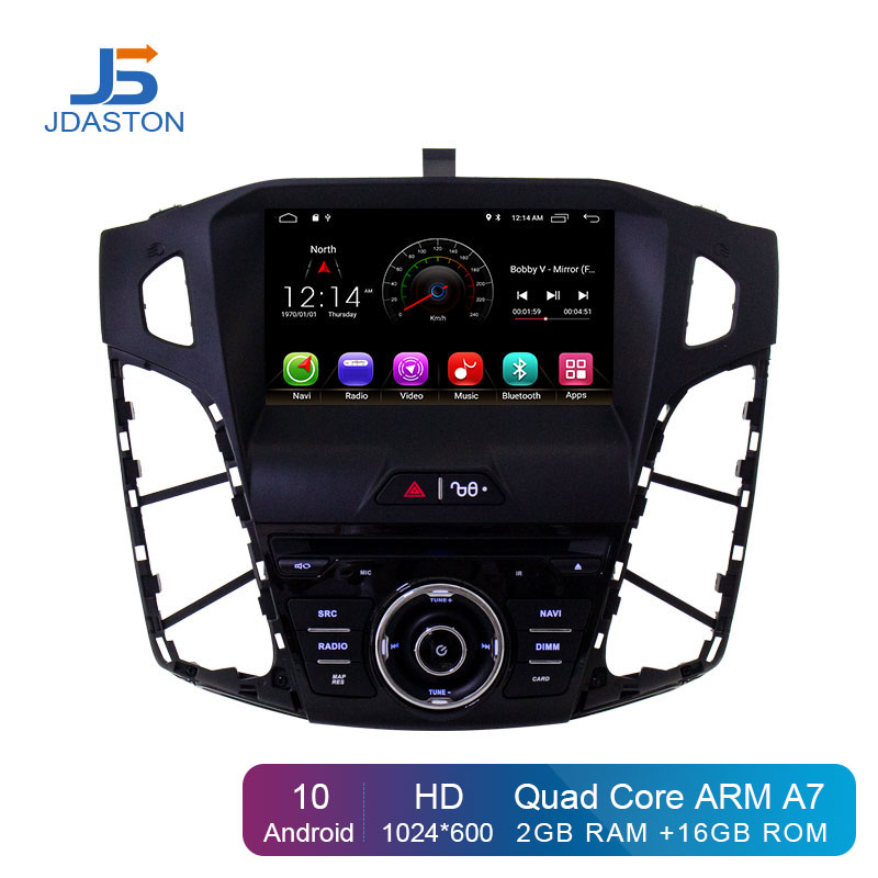 JDASTON Android 10 Car DVD Player For <font><b>Ford</b></font> <font><b>Focus</b></font> 2011 2012 <font><b>2013</b></font> 2014 2015 WIFI GPS <font><b>Navigation</b></font> 1 Din Car Radio Stereo Multimedia image