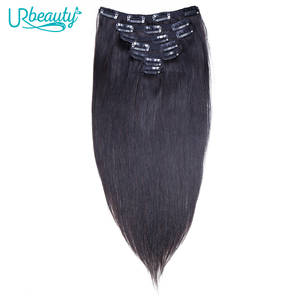 UR Beauty Hair Clip In Human Hair Extensions Brazilian Non Remy Straight Hair Natural Color 7 Pieces/Set 100 Grams Per Set