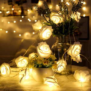 1.5M 10LED Artificial Rose Flower Garland String Light LED Fairy Lights Valentine's Day Wedding Christmas Party Decorations