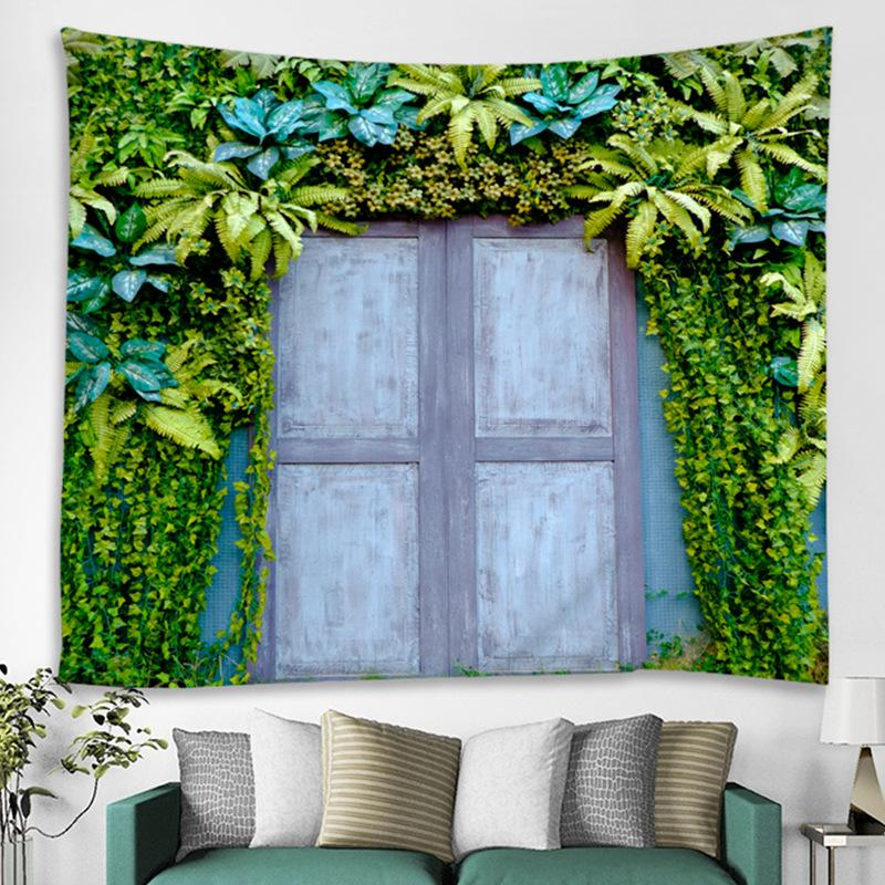 Fresh Green Leaf Windows Tapestry Summer Landscape Tapestry Rectangle Home Decoration Accessories Living Room Bathroom Decor