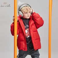DBK11265 dave bella kinder jungen winter unten jacke kinder 90% weiße ente unten oberbekleidung rot mit kapuze zipper mantel
