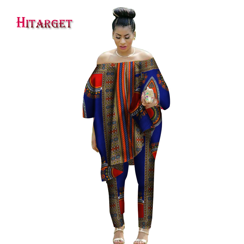 2020 African Women 2 Piece Set Dashiki Cotton Print Wax Crop Top and Shirt Set Good Sewing African Women Suits Clothes WY1513