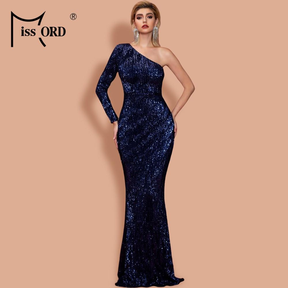 Missord 2020 Womem Irregular Neck Off Shoulder One Sleeve Dresses Female Elegant Sequin Bodycon Maxi Dress  FT20224