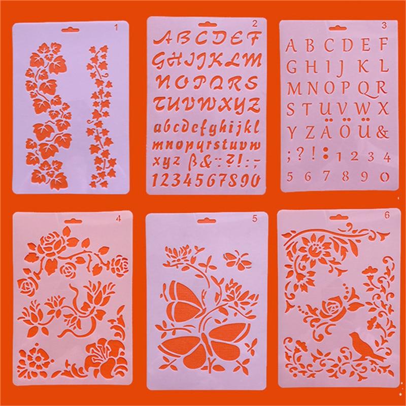 1pc alfabeto inglês letras diy estênceis em camadas modelo de pintura borboleta flor scrapbook para colorir modelo de cartão de gravação