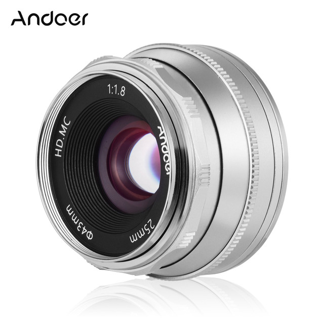 Andoer 25 مللي متر F1.8 عدسات تركيز يدوية بفتحة كبيرة للتصوير الفوتوغرافي لكاميرا فوجي فيلم FX Mount Mirrorless Canon EOS Olympus