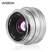 Andoer lente de foco manual 25mm f1.8, fotográfica com grande abertura para fujifilm fx mount, sem espelho, canon, eos, olympus