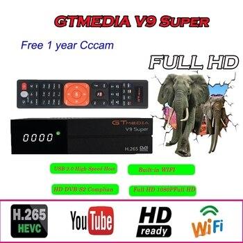 Stable GTMEDIA V9 HD satellite receiver withbuilt-in WIFI DVB-S2 support Youtube network shared satellite decoder freesat v9 box