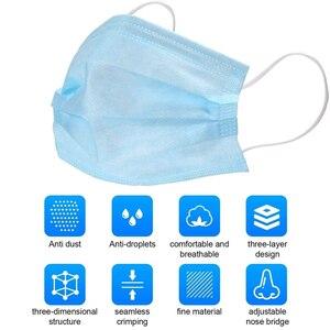Image 4 - Wegwerp Gezicht Mond Maskers 3 Lagen Beschermende Filter Niet Geweven Oorhaakje Respirator Stofdicht Masker