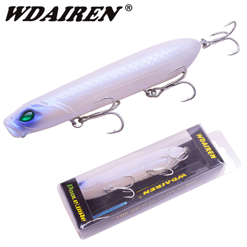 Popper Floating Fishing Lure mit 3D Eyes Treble Hook Swimbait für Süßwasser