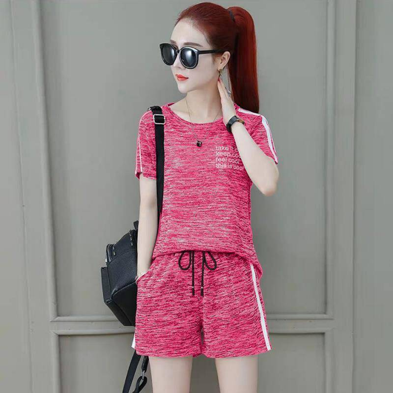 -2019 Summer New Style Korean-style Casual Two-Piece Set Sports Set WOMEN'S Short Sleeved Shorts WOMEN'S Dress