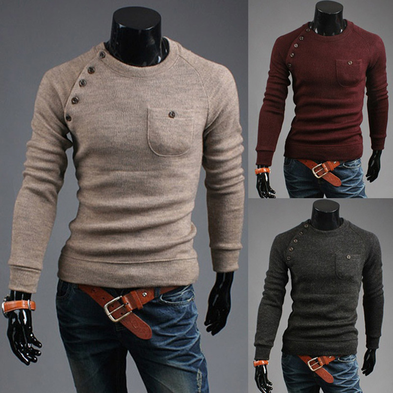 Men Sweater Casual O-Neck Pullover Sweaters Men Clothes 2019 Autumn Solid Pocket Pull Homme Cashmere Wool Thin Sweaters Tops