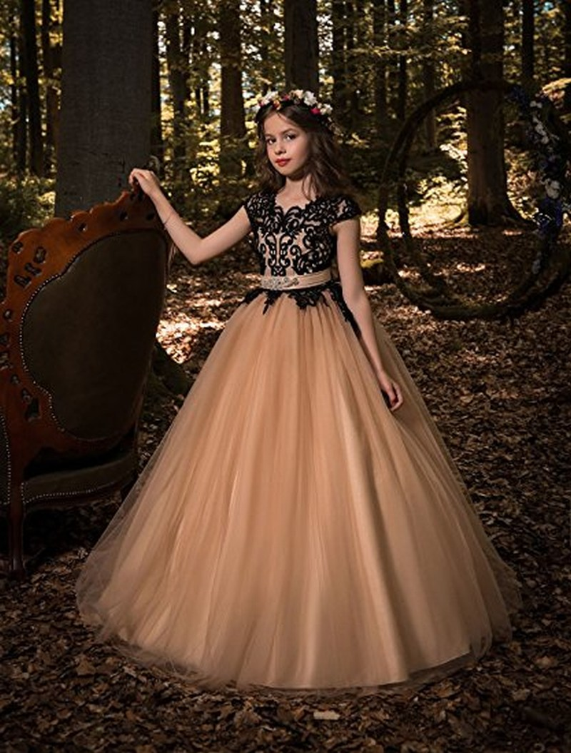 Flower-Girl-Dresses Princess-Gown Weddings And Black Lace for with Sash Kids First-Communion