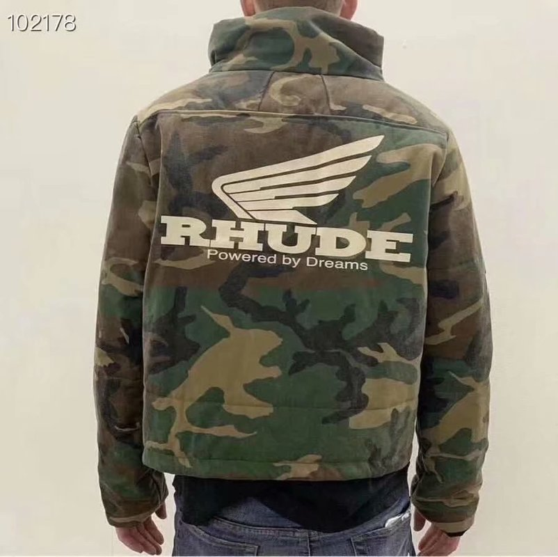 RHUDE Jackets Men Women Stitching Streetwear Bomber Camouflage Jacket Windbreaker Rainbow Coat RHUDE Army Men Jacket
