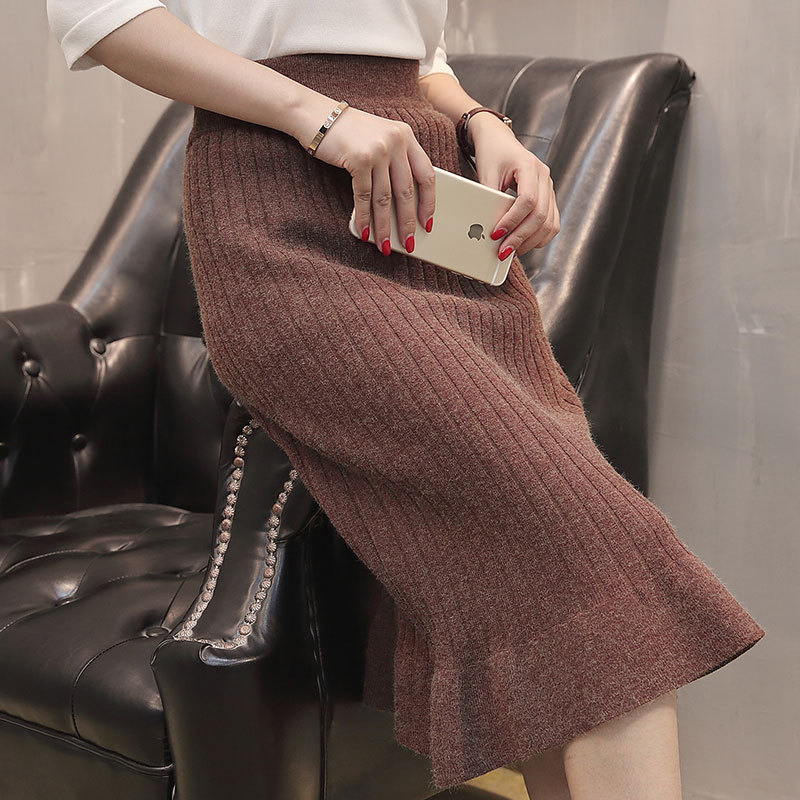 2018 Autumn Korean-style Women's Siasun Jin Yao Solid Color Vertical Stripe Flounced Hem Over-the-Knee Knitted Skirt Skirt