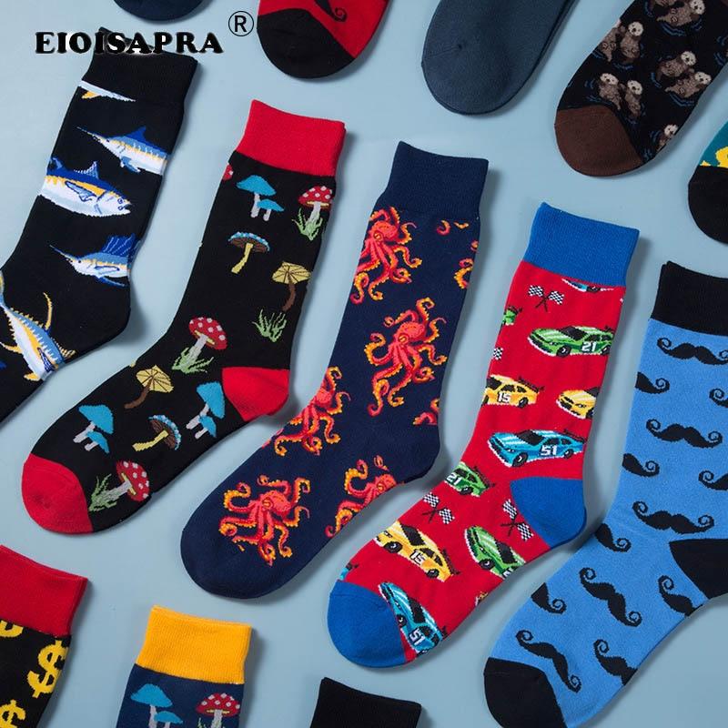 Spring Autumn Hip Hop Men Socks Creative Fashion Personality Cartoon Happy Socks Shark Beard Pattern Car Octopus Tide Socks
