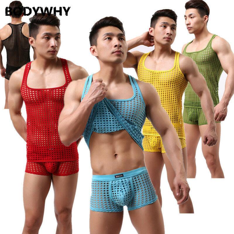 Men's Hollow Mesh Nets Sexy Underwear Set Boxer Briefs Top Tank Vest L M S Pajama Set Pajamas Men Mens Pajama Set Sleepwear