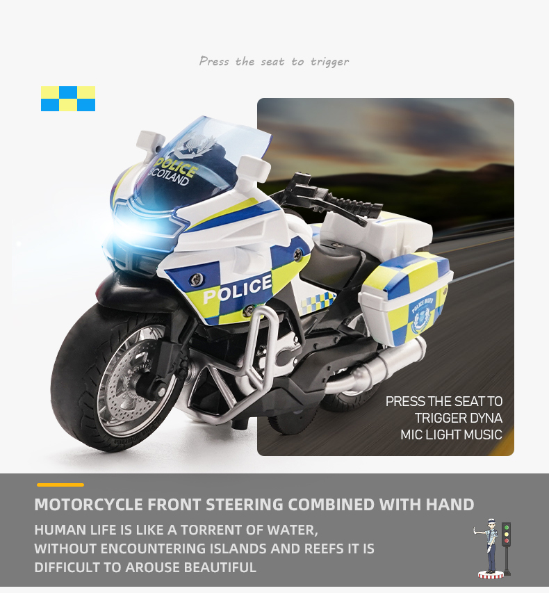 Motorcycle model Die-casting motorcycle with light and music  Toy car / Color Optional Toy gifts on Christmas Eve Ratio 1:14 4
