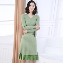 Woman Chic Knit Dress Autumn Spring Warm Soft Plain Ripple Knitted One Piece Green Blue Beige Caramel V-neck Layered Dresses New