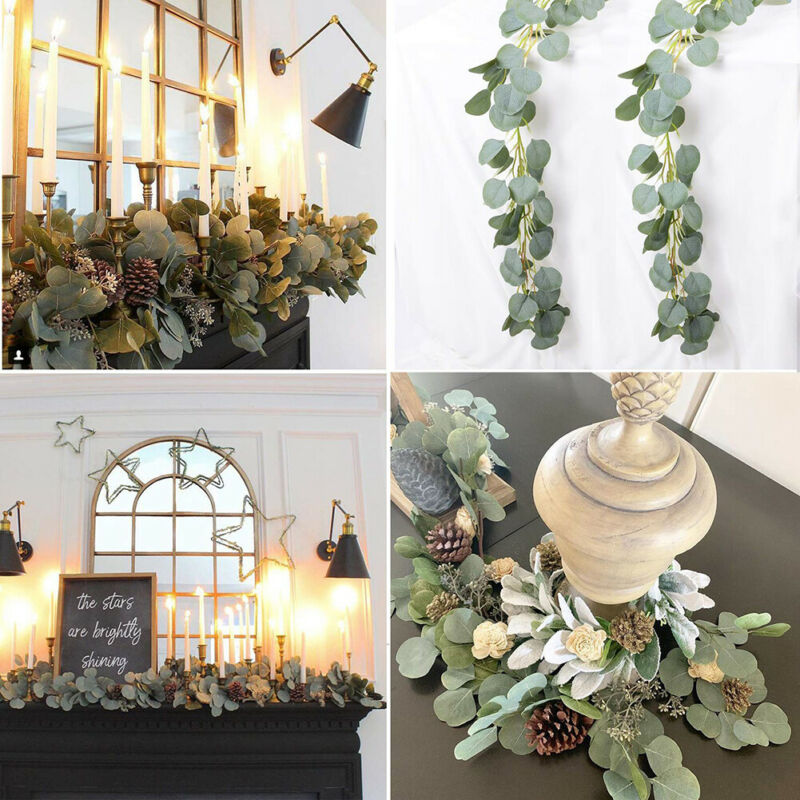 Hot 2M Silk Artificial Eucalyptus Round Leaf Garland Plants Vine Fake Foliage Flowers Home Decor Artificial Flower Rattan String