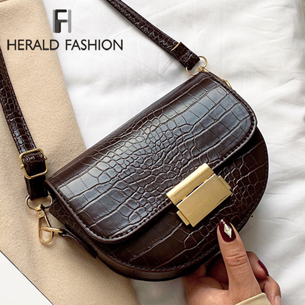 Stone Pattern PU Leather Saddle Bag For Women 2019 Small Solid Color Shoulder Messenger Bag Female Casual Handbags And Purses