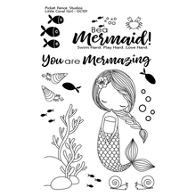 Little Coral Girl Transparent Clear Silicone Stamp/Seal for DIY scrapbooking/photo album Decorative clear stamp