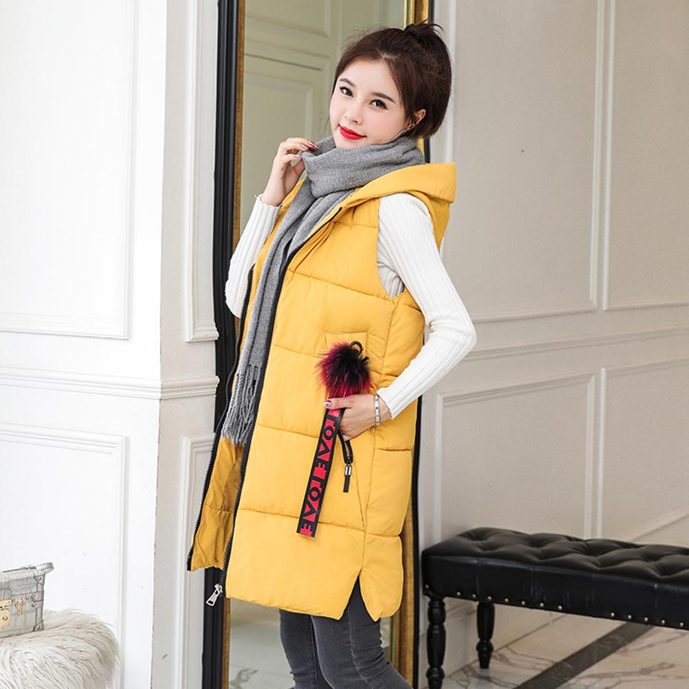 new Autumn Winter Vest Women Waistcoat 2019 New Fashion Female Sleeveless Jacket Hooded Warm Long Vest cotton feminino in Vests amp Waistcoats from Women 39 s Clothing